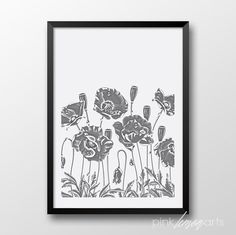 Hand drawn Poppies Print Poppies Home decor by PinkLemonArts