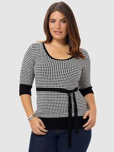 Veronica Sweater In Houndstooth Print by Effie's Heart, Available in sizes XL,1X/2X/3X and 4X