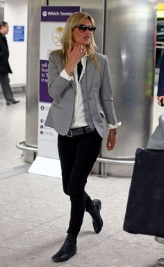 A classic well tailored blazer with skinny pants. It goes everywhere.