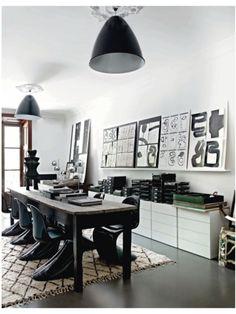 Panton Chair - Design Within Reach Panton Chair, Elle Decor, Home Decoracion, Black And White Interior, Black White, Industrial Dining, Industrial Bedroom, Industrial Style, Workspace Design