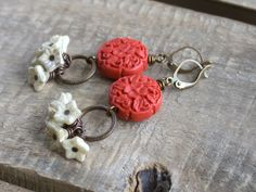 Bohemian Red & Cream Flower Earrings. Carved Cinnabar Red Earrings. Gypsy Floral Cluster Earrings. Boho Summer Statement Jewelry by GillsHandmadeJewels on Etsy https://www.etsy.com/listing/278210744/bohemian-red-cream-flower-earrings