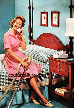 Vintage housewife doing two things at once