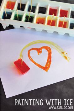 Painting with Ice - fun idea to do with kids!--fine motor to control a toothpick!