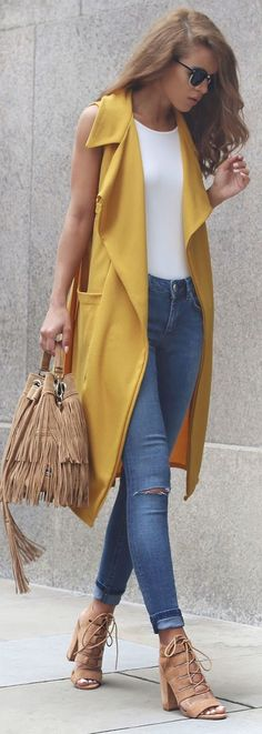 Mustard Sleeveless Duster Fall Inspo by Nada Adellè