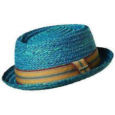 STETSON SALE ** BLUE PORK PIE BRAID RAFFIA HAT * L * MENS SHADY FEDORA STRAW SUN