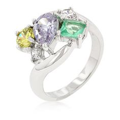 Bejeweled Cluster Cocktail Ring | Pear Cut Lavender, Round Cut Clear and Peridot Green CZ, Princess Cut Aqua & Clear CZ in Prong Setting