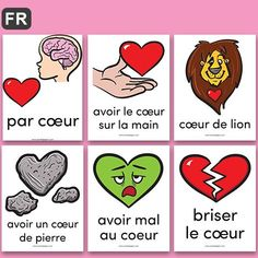 PDF Files Language: French Color 2 sizes: 1 poster per page, 9 posters per page Page size: X 11 in. 16 posters to illustrate french expressions with the word COEUR. Great for Valentine's Day! French Expressions, French Teaching Resources, Teaching French, Teaching Materials, Teaching Tools, Amelie Pepin, High School French, Valentines Surprise, French Colors
