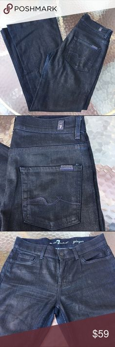"""7 For All Mankind Coated Ginger Flare Jeans 27 Dark wash, coated flare jeans. Approx meas: laid flat, waist is 15"""", rise is 9"""", Inseam is 30"""", flare opening is 11"""". No holes or stains. EUC. 7 For All Mankind Jeans Flare & Wide Leg"""
