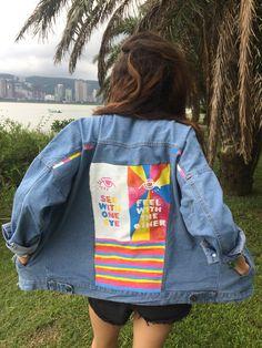 Hand painted art Oversized Denim Jacket by Eugenia PG @euphoriaaak