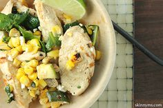 Chicken Spinach and Corn Sauté can be made in one skillet and served, fast and easy, with veggies and all:))!! #chickenrecipes #onepotmeals