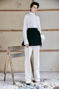 Ellery Pre-Fall 2015 - Collection - Gallery - Style.comig if they wanted a more structured look to go with cleaners, this could be an option for apron and white shirt, all tones of grey and graphic on apron