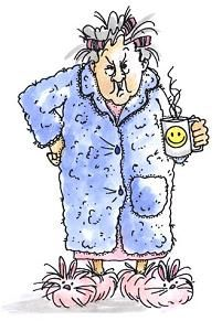 Our grumpy but loveable Maude in bathrobe with curlers and coffee cup.See smaller images I1238 and F3146