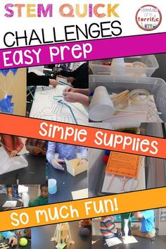 STEM Quick Challenges - These quick challenges are fabulous for so many reasons! Easy prep, easy materials, and super fun! A sub can do one of these, they are great for spur-of-the-moment needs, and each has two methods of recording data.