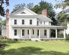 New Greek Revival Farmhouse - Farmhouse - Exterior - new york - by Scott Design, Inc Colonial House Exteriors, White Exterior Houses, Colonial Exterior, Traditional Exterior, White Houses, New England Farmhouse, White Farmhouse, Farmhouse Plans, Modern Farmhouse