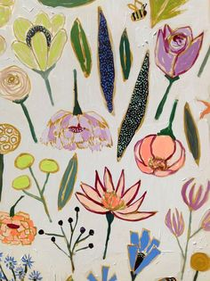 Huge heart eyes for this floral painting by Lulie Wallace Motif Floral, Arte Floral, Floral Prints, Art Prints, Floral Design, Motifs Textiles, Textile Patterns, Print Patterns, Textile Prints