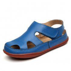 2016 nuevos niños de las sandalias de las muchachas de los niños del cuero genuino cortaron los zapatos
