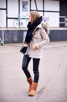 c63c6dba8f4 camel ugg boots with duffle coat fall winter outfit bmodish Ugg Boots  Outfit