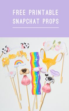 Download these Free Printable Snapchat filter photo booth props. More