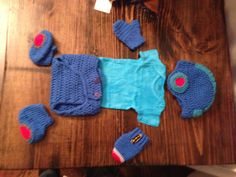 Megaman Baby Photo Prop Entire Set -Hat, boots, gloves, diaper cover and teal onesie