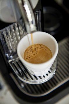 Coffee machine making espresso Coffee Machine, Coffee Maker, Nespresso, Kitchen Appliances, Tableware, Coffee Maker Machine, Diy Kitchen Appliances, Coffee Percolator, Home Appliances