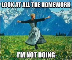Look at all the homework im not doing. I'm sure this is what my students do every night.