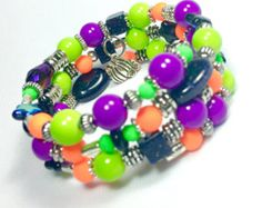 Green and purple witch bracelet Halloween by BridgeTollBeading