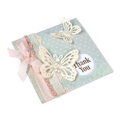 Butterflies Thank You Card -- Sizzix, Cardstock, Decorative Trim, Glitter, Half Pearls, Lace, Patterned Paper, Printed Sentiment, Ribbon