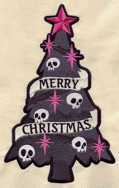Items similar to PAIR of Christmas   holiday skull Tree EMBROIDERED 15 x 25  inch Kitchen   bath room hand Towels on Etsy b89d1c1c9