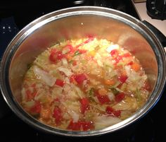 Cabbage soup. I forgot to buy chicken broth but have beef I'm going to substitute. See what happens