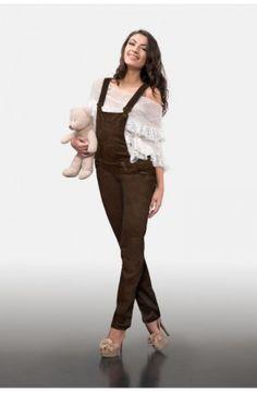 Salopetă maro din bumbac Overalls, Pants, Fashion, Moda, Trousers, Women Pants, Fasion, Women's Pants, Work Attire