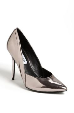 Shine on in metallic patent leather pumps.