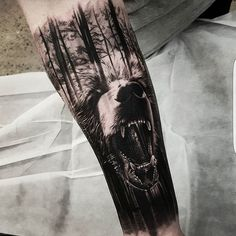 "A fearsome grizzly bear mashed up with its natural environment by Benji ""Roketlauncha"" Ortega (IG—benji_roketlauncha). #BenjiRoketlaunchaOrtega #bear #blackandgrey #dark #forest #realism #surrealism"
