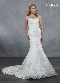 0ee5f9e25e2 Strapless fit and flare wedding dress with a deep sweetheart neckline