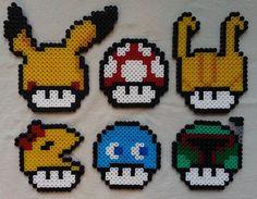 Mario mushroom perler beads (Pikachu, Loki, Ms Pacman, Pacman ghost Inky and Boba Fett) by GeekofMine