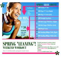 Weekend Workout: Spring Leaning!  Deets & Mods here: http://fitvillains.tumblr.com/post/20217914263/weekend-workout-spring-leaning-with-bonus-abs