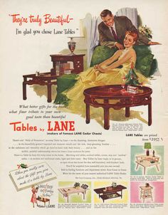 Vintage 1951 Lane Furniture print ad home decor Chinese Modern tables mid century