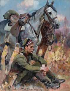 Uhlan at Rest, 1923 - Wojciech Kossak Poland History, Equine Art, Illustration Artists, Military Art, Illustrations And Posters, Horse Art, Native American Indians, Beautiful Paintings, Les Oeuvres