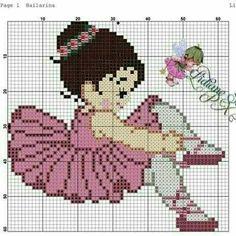 Menina bailarina Cross Stitch Books, Cross Stitch Baby, Cross Stitch Patterns, Embroidery Stitches, Hand Embroidery, Baby Crafts, Hobbies And Crafts, Pixel Art, Kids Rugs