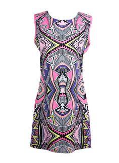 Cheap Boho Contrast Print Mini Shift Dress for Sale - Chicuu.com