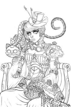 Steampunk Cheshire Coloring Page