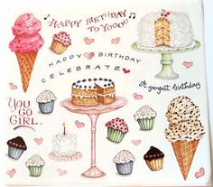 Birthday Cake Stickers Susan Branch Cake Ice Cream by Sticklicious