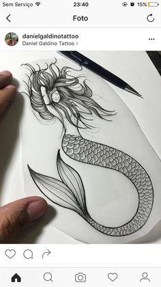 Little Mermaid Tattoos, Mermaid Tattoo Designs, Mermaid Drawings, Mermaid Art, Tattoos Mandala, Ocean Tattoos, Body Art Tattoos, Cool Tattoos, Black And White Art Drawing