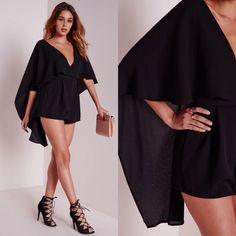 Combi-short cape noir effet mousseline #missguided