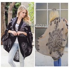 "New kimono cocoon scarf coverup cardigan cape boho New Retails. Boho kimono scarf Mandala ,Henna print. cocoon cardigan wrap cape. Oversized, relaxed wrap. Lightweight fabric. Cocoon style  with kimono sleeves. ⭐️2 color to choose from BLACK OR MOCHA. ⭐️One size fits most. ⭐️Total length : 45"" approximately Boutique Accessories Scarves & Wraps"