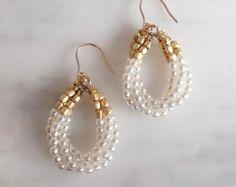 Petite Drop Pearl Earring, Hook diy jewelry to sell Pink Coral Hook Earrings Pearl Drop Earrings, Diy Earrings, Earrings Handmade, Handmade Jewelry, Coral Earrings, Simple Earrings, Hoop Earrings, Handmade Rings, Seed Bead Earrings