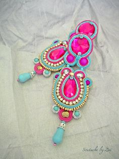 Long Statement Fuchsia Soutache Earring, Teal-Fuchsia Rhinestones Earring, Turquoise Earring, Bollywood Soutache Earring, Chandelier Earring Soutache earrings Bombay  Long Fuchsia Turquoise Statement Soutache earrings Approximate size: Length: 3.35 in. (9 cm.) Width: 1.3 in. (3 cm.) Materials used: Czech fire polished glass, acrylic cabochons, rhinestone chain, Czech seed beads Preciosa Ornella, toho seed beads, soutache braid, stud type closure, suede to the rear. Earrings colors…