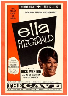 Jazz Diva Ella Fitzgerald at Vancouver Canada Concert Poster 1960 Ella Fitzgerald, Jazz Poster, Blue Poster, Gig Poster, Poster Wall, Poster Prints, Festival Jazz, Festival Posters, Billy Holiday