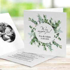"""Order invitation card wedding """"Greenery"""" with Einladungskarte Hochzeit """"Greenery"""" mit Foto bestellen Romantic greenery style wedding invitation - Beach Wedding Invitations, Wedding Invitation Wording, Invitation Design, Wedding Stationery, Event Invitations, Wedding Cards, Diy Wedding, Wedding Events, Wedding Gifts"""