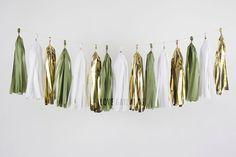 Olive Green White Gold Tassel Garland, Sage Green Garland, Aloe Green Party Decor, Sage Green Bridal Shower, Olive Green Wedding Decor by LoveGarlands on Etsy https://www.etsy.com/listing/257554617/olive-green-white-gold-tassel-garland