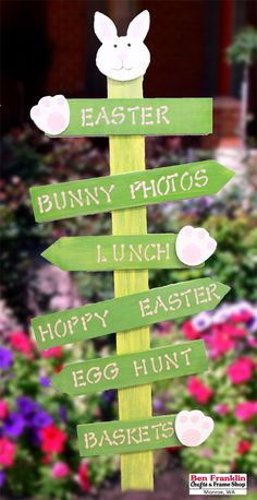 DIY Directional Signs for Easter, . Supplies available at our Ben Franklin Crafts store in Monroe, WA. Easter Projects, Easter Crafts, Easter Ideas, Diy Osterschmuck, Diy Crafts, Diy Easter Decorations, Wood Decorations, Directional Signs, Fun Activities To Do